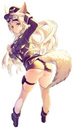 1girl animal_ears ass blonde_hair blue_eyes blush breasts cherrypin clothes_pull fox_ears fox_tail goggles goggles_on_head hat highres large_breasts long_hair looking_at_viewer open_mouth original peaked_cap pouch simple_background solo strap sweat tail thigh_strap thighhighs uniform white_background white_legwear