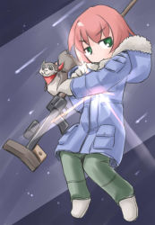 1girl animal bandanna brown_hair coat darker_than_black fur_trim gloves green_eyes gun hood kugelschreiber pants shoes solo standing suou_pavlichenko weapon