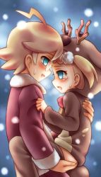 10s 1boy 1girl ahoge blonde_hair blue_eyes blush brother_and_sister citron_(pokemon) cowgirl_position eureka_(pokemon) glasses hand_on_ass heavy_breathing hoodie incest jacket loli long_sleeves looking_at_another open_mouth pants pants_down pokemon pokemon_xy pokemon_xy_(anime) porocha profile short_hair shota siblings snow straight_shota sweat tears
