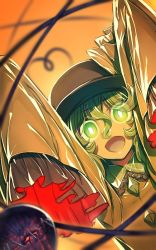 1girl arms_up dutch_angle eyeball frills glowing glowing_eyes gradient gradient_background green_eyes green_hair hat hat_ribbon heart heart_of_string jpeg_artifacts komeiji_koishi long_sleeves looking_at_viewer open_mouth orange_background ribbon shirt short_hair smile solo string third_eye touhou wide_sleeves zounose