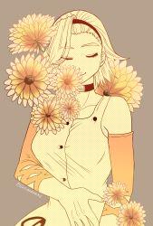 1girl arm_warmers choker dress eyes_closed flower hairband highres hutomomo_syobou jojo_no_kimyou_na_bouken monochrome smile solo sugimoto_reimi twitter_username upper_body