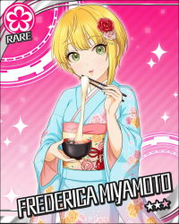 1girl artist_request blonde_hair card_(medium) character_name flower flower_(symbol) green_eyes hair_flower hair_ornament idolmaster idolmaster_cinderella_girls japanese_clothes kimono miyamoto_frederica official_art pink_background short_hair solo sparkle