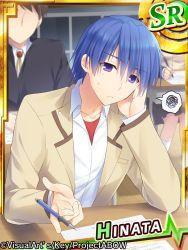 1boy angel_beats! blue_hair fuyuichi hinata_(angel_beats!) mechanical_pencil pencil purple_eyes school_desk school_uniform short_hair spoken_squiggle squiggle