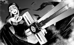 1girl clarice_(cinderella_girls) clarice_(idolmaster) cross eyes_closed gun habit hiroki_(plt) idolmaster idolmaster_cinderella_girls long_hair machine_gun monochrome nun ohara_hiroki open_mouth parody smile solo trigun weapon