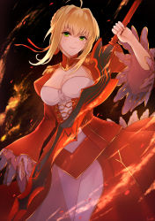 1girl ahoge blonde_hair blush braid breasts cleavage epaulettes fate/extra fate_(series) fire green_eyes hair_intakes kachiino long_hair looking_at_viewer odango puffy_sleeves saber_extra see-through smile solo sword warrior weapon wide_sleeves