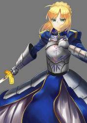 1girl absurdres ahoge armor armored_dress blonde_hair excalibur fate/stay_night fate_(series) green_eyes grey_background highres juliet_sleeves long_sleeves mou_(piooooon) puffy_sleeves saber short_hair sketch solo
