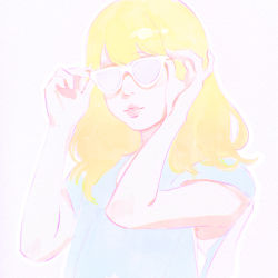 1girl adjusting_glasses blonde_hair glasses ilya_kuvshinov long_hair original solo upper_body