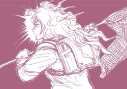 1boy backpack bag blazer bubble_pop_sdk butterfly_net danganronpa gokuhara_gonta hand_net jacket long_hair male_focus monochrome net new_danganronpa_v3 randoseru school_uniform solo