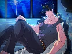 1boy black_hair blue_hair cigarette gakuran hat jacket_on_shoulders jojo_no_kimyou_na_bouken kuujou_joutarou less_end school_uniform solo tank_top