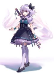 1girl adapted_costume ainy77 artist_name black_bow black_bowtie black_shoes blue_eyes bow bowtie collar flower frilled_collar frilled_legwear frilled_skirt frilled_sleeves frills hair_bow kneehighs konpaku_youmu konpaku_youmu_(ghost) puffy_short_sleeves puffy_sleeves scabbard sheath sheathed shoe_bow shoes short_sleeves silver_hair simple_background skirt smile solo sword touhou weapon white_background wristband