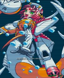 1girl 90s ass back bodysuit fins from_behind green_eyes headdress long_sleeves looking_at_viewer looking_back mermaid monster_girl neo_geo open_mouth pilot_suit red_hair snk solo underwater water