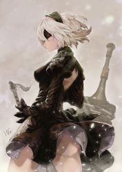 1girl black_hairband black_legwear blindfold breasts cleavage dai_(eiji0417) feather-trimmed_sleeves hairband highres mole mole_under_mouth nier_(series) nier_automata short_hair solo standing sword thighhighs weapon white_hair yorha_no._2_type_b