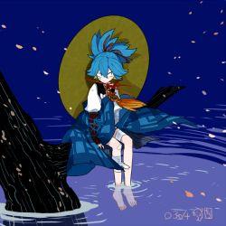 1boy artist_name barefoot blue_background blue_eyes blue_hair dated dolphin hat kote l_hakase male_focus sayo_samonji sitting solo touken_ranbu water