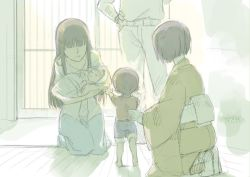 1boy 4girls baby barefoot belt black_hair brown_hair cosmic_(crownclowncosmic) eyes_closed family girls_und_panzer hand_on_hip holding indoors japanese_clothes kimono long_hair mother_and_daughter multiple_girls muted_color nishizumi_maho nishizumi_miho nishizumi_shiho nishizumi_tsuneo no_eyes obi outstretched_arms pants pants_rolled_up sash seiza short_hair siblings sisters sitting sketch smile translated younger yukata