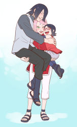 1boy 2girls black_hair carrying eyes_closed family father_and_daughter glasses gradient_background haruno_sakura hug long_hair mother_and_daughter multiple_girls naruto pink_hair red-framed_glasses risuo short_hair smile uchiha_sarada uchiha_sasuke