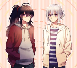 2boys ahoge alternate_hairstyle black_hair contemporary hands_in_pockets honebami_toushirou hood hoodie male_focus multiple_boys namazuo_toushirou ponytail purple_eyes shirt striped striped_shirt touken_ranbu white_hair yuzuki_kaoru