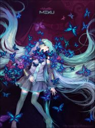 1girl absurdly_long_hair aqua_eyes aqua_hair boots butterfly character_name copyright_name detached_sleeves hatsune_miku long_hair looking_at_viewer lying necktie nise_shoku skirt solo thigh_boots thighhighs twintails very_long_hair vocaloid zettai_ryouiki