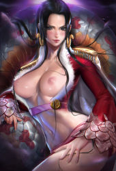 1girl amazon artist_name black_hair boa_hancock breasts breasts_outside cleavage dark_background earrings female highres jewelry large_breasts long_hair looking_at_viewer midriff navel nipples one_piece sakimichan shiny shiny_skin snake solo