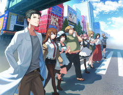 3boys 5girls adjusting_hair akihabara_(tokyo) amane_suzuha animal_ears apron baseball_cap belt bike_shorts black_hair black_legwear blue_eyes boots braid brand_name_imitation breasts brown_hair building cat_ears cellphone cloud cloudy_sky collared_shirt day dress drill_hair eyes_closed facial_hair faris_nyannyan fat fat_man flip_phone glasses green_eyes hair_ribbon hand_in_pocket handkerchief hands_together hashida_itaru hat high_heels index_finger_raised jacket japanese_clothes kiryuu_moeka labcoat light_brown_hair lineup logo_parody long_hair looking_at_another looking_at_viewer maid maid_apron maid_headdress makise_kurisu midriff miko miniskirt multiple_boys multiple_girls necktie nekorin_(nekoforest) off_shoulder okabe_rintarou one_eye_closed one_leg_raised open_mouth pants pantyhose parody perspective phone pink_eyes pink_hair profile ribbon road sandals sega shadow shiina_mayuri shirt shoes short_hair shorts_under_skirt skirt sky smile socks sofmap steins;gate street stubble sun_hat sweat trap tray twin_braids twin_drills urushibara_ruka walking wide_sleeves
