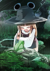 1girl bending_forward blonde_hair dress eyes_closed frog grass hair_ribbon hat highres leaf_umbrella lily_pad long_hair mankun moriya_suwako open_mouth payot pond rain ribbon rock short_dress solo thighhighs touhou tree white_legwear