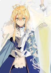 1girl armor artoria_pendragon_lancer_(fate/grand_order) blonde_hair crown fate/grand_order fate_(series) glowing green_eyes long_hair looking_at_viewer nesume polearm rhongomyniad saber solo spear weapon