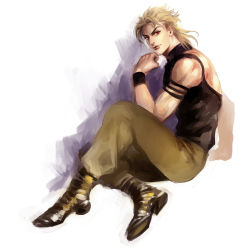 1boy blonde_hair dio_brando jojo_no_kimyou_na_bouken magatsumagic red_eyes solo