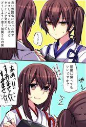 2girls akagi_(kantai_collection) brown_hair comic japanese_clothes kaga_(kantai_collection) kantai_collection long_hair lowres mikan-uji multiple_girls side_ponytail translation_request