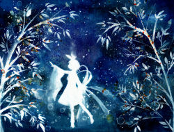 1girl bow full_body hair_bow highres kagamine_rin silhouette solo stain tanabata traditional_media vocaloid watercolor_(medium) wide_sleeves yura_nan