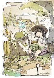 1girl :t bird child eating food frog hat original outdoors parallela66 sandwich scarf twitter_username