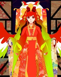 bow facing_viewer floral_print hair_ornament hair_ribbon ho-oh japanese_clothes jiyu kimono personification pokemon red_eyes red_hair ribbon wings yukata