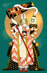 1girl 2013 animal_ears bell blonde_hair bow bunny_ears chinese_zodiac clog_sandals fox full_moon gloves hair_ornament japanese_clothes kimono kouhaku_nawa l_hakase lantern large_bow long_hair mallet moon new_year original plant red_eyes red_gloves sandals snake snake_(chinese_zodiac) solo standing