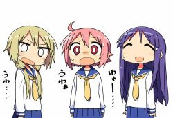 3girls ^_^ ^o^ ahoge blonde_hair commentary_request eyes_closed hinata_yukari ichii_yui kanikama long_hair long_sleeves looking_at_viewer low_twintails masochism multiple_girls necktie nonohara_yuzuko open_mouth pink_hair purple_hair school_uniform short_hair sweatdrop text tied_hair translation_request twintails yellow_necktie yuyushiki