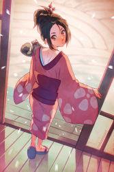 00s 1girl animal ass back blush brown_eyes brown_hair feet fuu hair_ornament japanese_clothes kimono legs looking_back nakanoart off_shoulder ponytail samurai_champloo sandals standing tail yukata