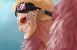 1boy blonde_hair bust donquixote_doflamingo earrings feather_boa goggles goggles_on_head jewelry magician_(china) male one_piece open_clothes open_shirt shirtless short_hair smile solo sunglasses