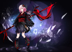 1girl black_clothes boots guilty_crown hair_ribbon holding holding_weapon japanese_clothes kimono long_hair pink_hair polearm red_ribbon ribbon solo spear tanikku weapon yukata yuzuriha_inori