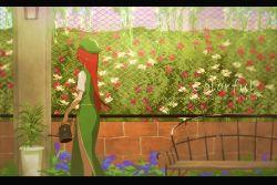 bench beret chinese_clothes fence flower gomibukurokarasu hat highres hong_meiling puffy_short_sleeves puffy_sleeves red_hair short_sleeves skirt skirt_set solo touhou wall watering_can