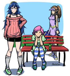 3girls akairiot bench bike_shorts blue_eyes blue_hair breasts brown_eyes brown_hair casual cleavage contemporary doubutsu_no_mori fire_emblem fire_emblem:_kakusei full_body hairband long_hair looking_at_viewer lucina multiple_girls nintendo off-shoulder_sweater pantyhose park_bench payot pigeon-toed pink_hair pointy_ears princess_zelda racket shoes sitting small_breasts smile sneakers socks sportswear standing striped striped_legwear super_smash_bros. tennis_racket tennis_uniform the_legend_of_zelda thighhighs tiara triforce twilight_princess villager_(doubutsu_no_mori) visor_cap wristband