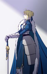 1girl armor armored_dress blonde_hair cape excalibur fate/stay_night fate_(series) gauntlets hair_bun j_(onjj) saber solo