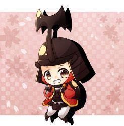 1boy armor blush brown_eyes cherry_blossoms chibi gauntlets gloves helmet japanese_armor kobayakawa_hideaki open_mouth sengoku_basara solo udukisakuna