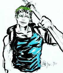1boy artist_name earrings goggles green_hair male one_piece open_mouth roronoa_zoro ryu-911 sheathed_sword sketch skypiea solo sword tank_top