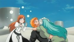 1boy 2girls animated animated_gif arrancar bleach blue_sky breast_press breasts embrace fingers green_hair hands horns huge_breasts hugging inoue_orihime kurosaki_ichigo large_breasts long_hair multiple_girls nelliel_tu_odelschwanck orange_hair sexually_suggestive shinigami short_hair sky tagme tattoo turquoise_hair very_long_hair wavy_hair