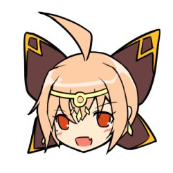 1girl elsword face ignia_(elsword) lowres open_mouth orange_hair simple_background smile solo