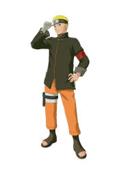 1boy absurdres bandaged_arm blonde_hair blue_eyes forehead_protector full_body hand_on_hip looking_at_viewer naruto naruto:_the_last official_art solo spiked_hair toeless_legwear uzumaki_naruto whiskers zipper