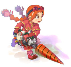 alternate_weapon braid capelet child drill gloves goggles goggles_on_head gurumin long_sleeves lowres orange_hair oversized_zipper parin power_tool running shadow stupa13a twin_braids weapon white_background