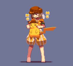 1boy 1girl animal_ears animated animated_gif barefoot blonde_hair blush_stickers bunny_ears cheek_pull chewing detective_pikachu eating flat_cap great_detective_pikachu:_the_birth_of_a_new_duo hat mg_mg migel_futoshi pikachu pixel_art pokemon puffy_pants red_eyes ringo_(touhou) short_hair shorts simple_background standing sweat touhou
