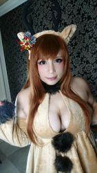 1girl asian breasts brown_hair chouzuki_maryou cosplay curvy hat large_breasts photo plump reindeer solo