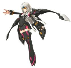 1girl armor armored_boots black_gloves boots code:_nemesis_(elsword) elsword eve_(elsword) fingerless_gloves full_body gloves long_hair official_art outstretched_arm ress silver_hair solo transparent_background yellow_eyes