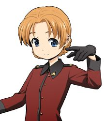 1girl bangs black_gloves blue_eyes braid commentary_request epaulettes girls_und_panzer gloves hand_up haniwa_(leaf_garden) highres jacket long_sleeves looking_at_viewer military military_uniform orange_hair orange_pekoe parted_bangs red_jacket smile solo st._gloriana's_military_uniform uniform upper_body white_background