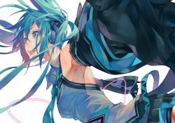1girl aqua_hair armpits bare_shoulders belt colored_eyelashes detached_sleeves eyelashes fangs green_eyes green_hair happy hatsune_miku headset highres long_hair monq necktie open_mouth pleated_skirt simple_background skirt smile solo twintails very_long_hair vocaloid white_background