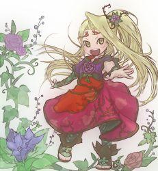 1girl blonde_hair female flower kid_icarus kid_icarus_uprising long_hair nintendo open_mouth patterned_legwear ponytail sandals solo viridi yellow_eyes
